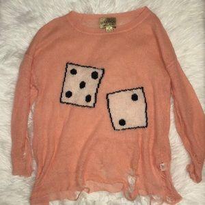 Wildfox Wool Blend Distressed Sweater